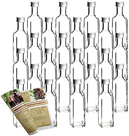 Vidrio de calidad de Flaschendiscount.,Flaschendiscount - Juego de botellas de marasca cuadrada con