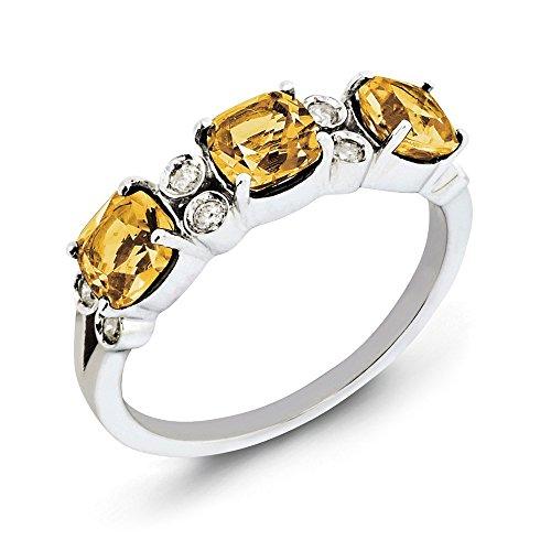 Cut Bow Ring Cushion Diamond (Cushion Whiskey Quartz & 1/10 Ctw (H-I, I2-I3) Diamond Sterling Silver Ring Size 7)