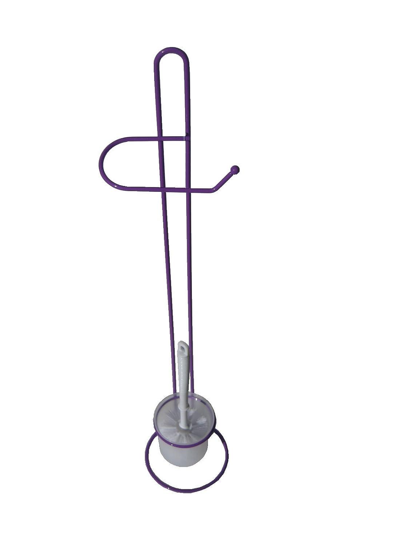 Escobillero con porta rollos de pie decorado en 4 colores (Anaranjado)