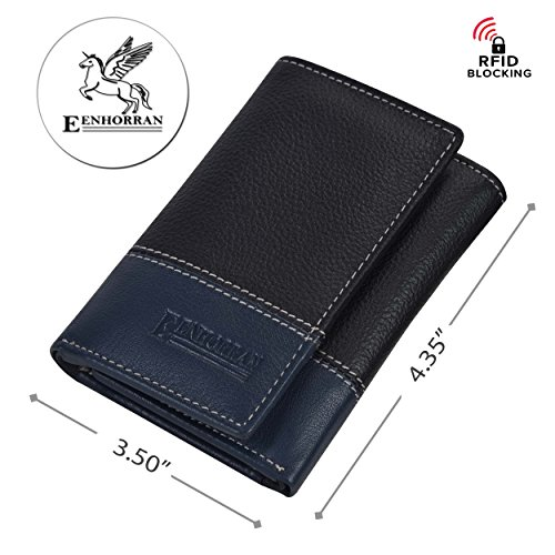 RFID Leather Trifold Wallets for Men - Handmade Slim Mens Wallet 6 Credit Card ID Window and Gift Box Secure by EENHORRAN (Black & Navy) by EENHORRAN (Image #3)