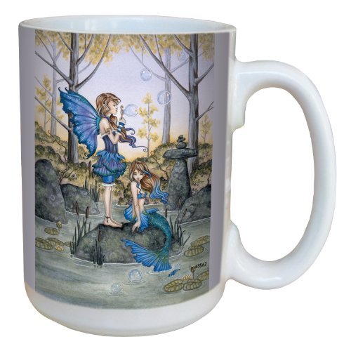 (Tree-Free Greetings lm43562 Fantasy Second Cousins Fairy and Mermaid Ceramic Mug with Full Sized Handle by Amy Brown, 15-Ounce )
