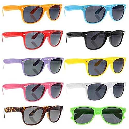 grinderPUNCH 80's Classic Blue Brothers Horn Rimmed Style Wayfarer Colors Packs Vintage Retro Sunglasses Lot of 10