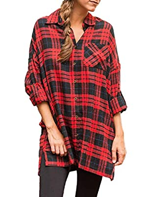 MISSLOOK Women's Plaid Button Down Shirts Roll-up Sleeve Blouses Tunics Loose Fit Tops with Pocket