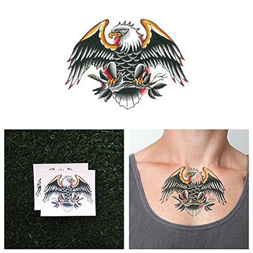 Tattify Traditional Eagle Temporary Tattoo - Americaw (Set of 2) - Other Styles Available and Fashionable Temporary (Traditional Eagle)