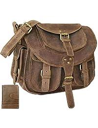 SALE Genuine BUFFALO Leather Womens Handbag Shoulder Bag Vintage Tote Satchel Purse ; FREE WALLET