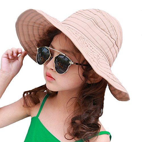 Rose Red Lucky Shop1234 UV Protection Sun Hat Kids Girls Sun Hat Summer Outdoor Sun Protection Hat for 3-10 Years Children