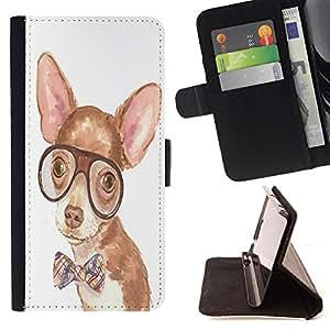 Super Marley Shop - Funda de piel cubierta de la carpeta Foilo con cierre magn¨¦tico FOR Samsung Galaxy S5 Mini SG870a, SM-G800- Dog Cute Chihuahua