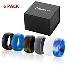 Syourself Silicone Wedding Ring Band for Men or Women-Safe Flexible Comfortable Medical Grade Love Rings- Fit for Sports, Outdoors+Gift Box
