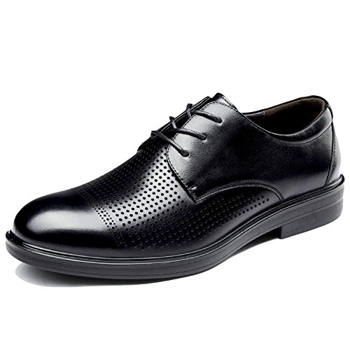 con De Negro Zapatos A Verano De Respirables Punta para Formales Redonda Baja Zapatos De Cuero De con Negocios Cordones Orificios para Hombres Hombre Color De XdTxSd