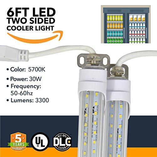 (6FT LED Refrigeration Cooler Lights - LED Powered Double-Sided Walk-in Cooler Lights - (UL + DLC) - (25 Pack))