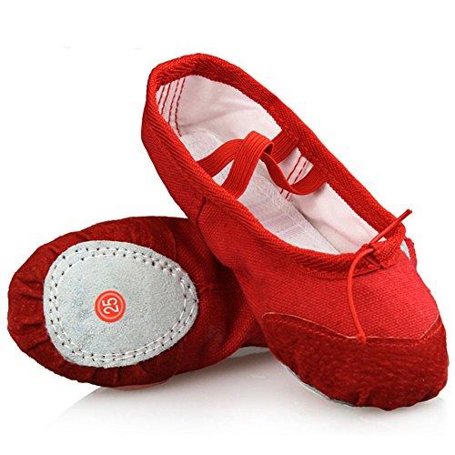LONSOEN Ballet Slipper Shoes Split-Sole Dance Flat for Girls (Toddler/Little Kid/Big Kid) SHC551 Red (Child Ballet Slippers)