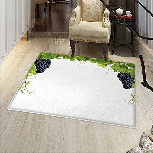 Vineyard Small Rug Carpet Wine Leaf Loose Bunch Large Berries Tannin Breed French Village Image Door mat Indoors Bathroom Mats Non Slip 2'x3' Green Black - French Toscana Wine