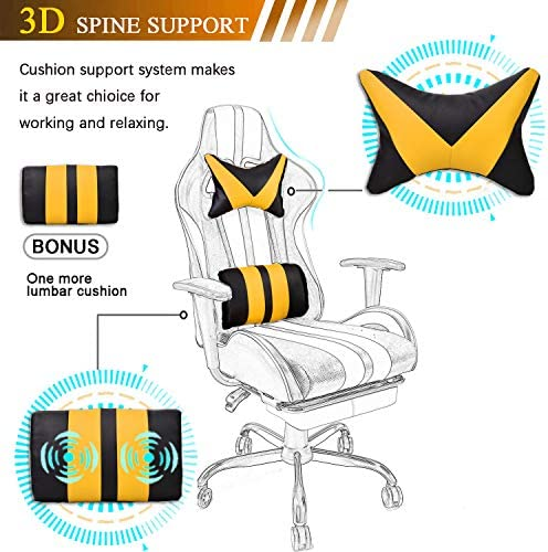 Video Gaming Chair,E-Sports Chair,Office Chair,PC Gaming Chair,Racing Style Massage Racing Chair with Height Adjustment, Lumbar Support,Headrest,Retractable Footrest(Racing Yellow) 51mBlvUKNbL