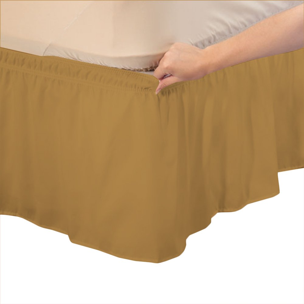 Relaxare Short King 600TC 100% Egyptian Cotton Gold Solid 1PCs Wrap Around Bedskirt Solid (Drop Length: 25 inches) - Ultra Soft Breathable Premium Fabric