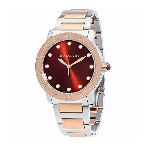 Bvlgari BVLGARI Brown Lacquered Diamond Dial Stainless Steel & 18k Pink Gold 37mm Ladies Watch 102159