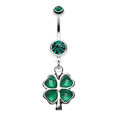 4eb318e5e Lucky Four Leaf Clover Dangle 316L Surgical Steel Freedom Fashion Belly  Button Ring (Sold by