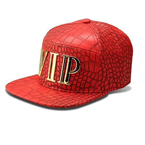 MADY Hip Hop Bling Bling VIP Crocodile Grain Baseball Cap Men Women Adjustable Strapback (Red)