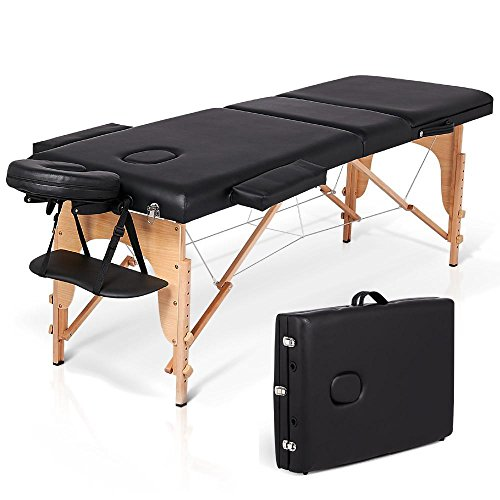 go2buy 84″ L Portable Massage Table Free Carry Case Spa Facial Bed Black