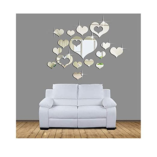 Amazon.com: Elevin(TM) 3D Heart Mirror Wall Decals Sticker ...