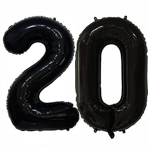 Tellpet Black Number 20 Balloon, 40 Inch