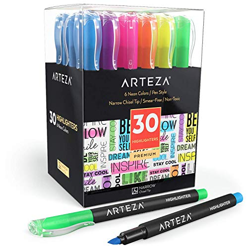 ARTEZA Highlighters Set of 30, Narrow Chisel Tip, Bulk Pack of Markers in 6 Assorted Neon Colors, Made with Non-Toxic Ink, for Highlighting in the Home, School, or Office ()