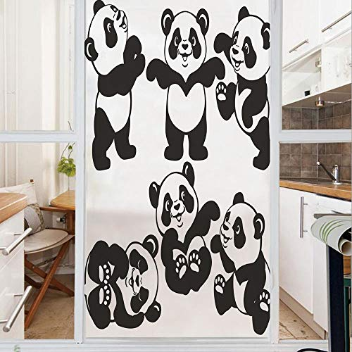 Decorative Window Film,No Glue Frosted Privacy Film,Stained Glass Door Film,Set with Playful Panda Bear in Monochrome Style Happy Young Zoo Animal Childhood Decorative,for Home & Office,23.6In. by 59I
