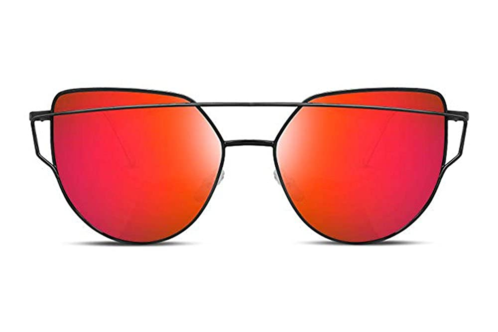Ruike Cat Eye Mirrored Flat Lenses Street Fashion Vintage Metal Frame Sunglasses For Men//Women black red