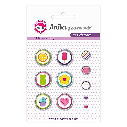 Anita y Su Mundo 37050123 - Pack of 11 Brads, Epoxy My Chuches Design