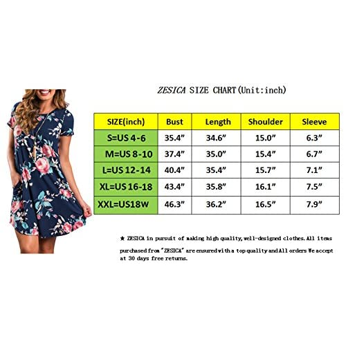 ZESICA Women's Crew Neck Short Sleeve Floral Shift Dress With Pockets