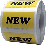 Yellow with Black New Rectangle Stickers, 3/4 x 1.5 Inches in Size, 500 Labels on a Roll