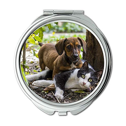 Yanteng Mirror,Compact Mirror,Dog Cat Dog - Cat Friendship Pets Game Dachshund,Pocket Mirror,Portable -
