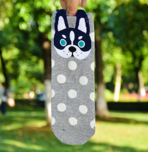 Cute Cartoon Animal Socks, Sagton Women Cat Footprints Katoen Low Cut Floorsocks Crew Socks Grijs