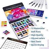 Watercolor Paint Set, 72 Vivid Colors with 6
