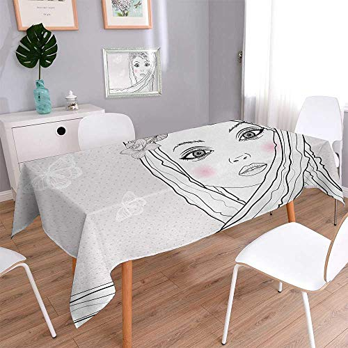 Teen Room Oblong Wrinkle Resistant Tablecloth Baby Face Young Girl with Floral Wreath on Hair and Butterfly Design Rectangular Tablecloth 54