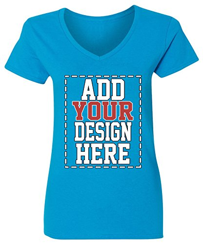Custom V Neck T Shirts for Women - Make Your OWN Shirt - Add Your Design Picture Photo Text Printing