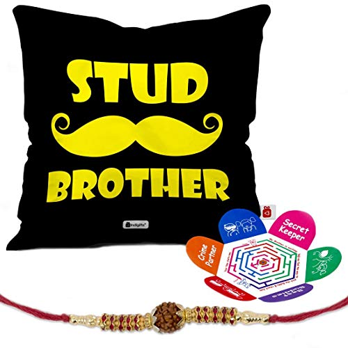 - Indigifts Rakhi Gift Bro is a Friend Forever Quote White Set of Cushion Cover 18x18, Rakhi and Greeting Card - Raksha bandhan Gift for Brother