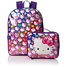 """Hello Kitty """"Glitter Party"""" Backpack with Lunchbox"""