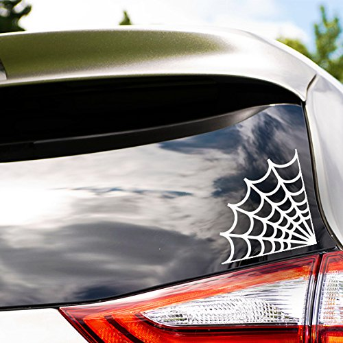 Spider Web Vinyl Sticker - WHITE - Car Bumper Window Sticker 12