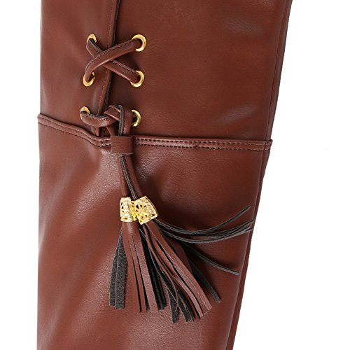 Stiletto Boots and Tassels M Brown with AmoonyFashion PU Solid 5 High PU Square Material Soft Womens US Heels B PPSxwqpf