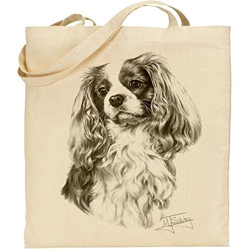 Mike Sibley Cavalier King Charles Spaniel Cotton Natural Bag (Leeds Sofa Shops)
