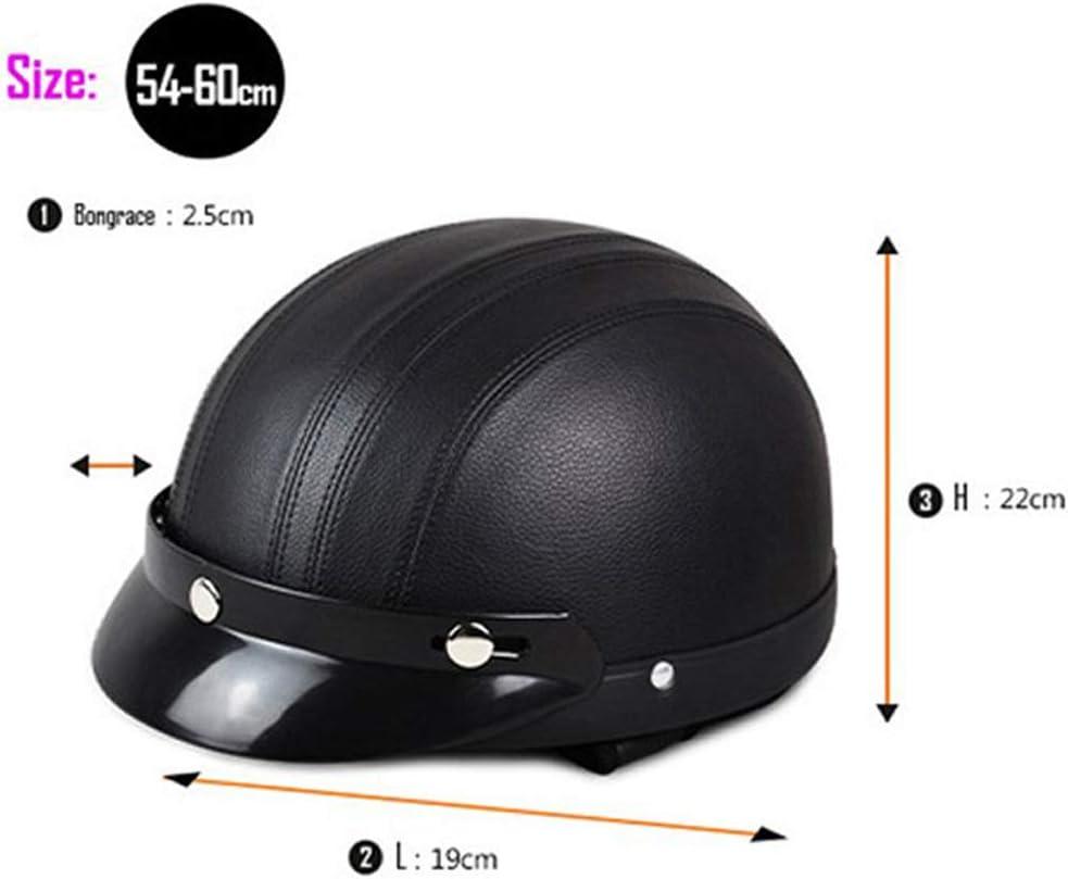 Annong Casque de Moto et Velo Bol Lunettes Retro Style de Vintage Cuir Harley Casque Moiti/é Helmets 54-60cm