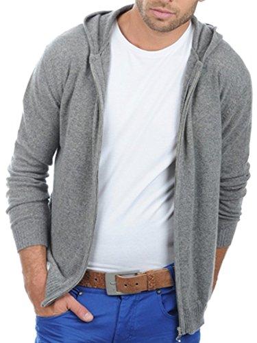 Balldiri 100% Cashmere Kaschmir Herren Pullover Hoody Sweater Kapuze grau M