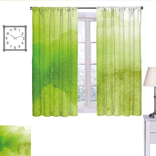 WinfreyDecor Sage Country Curtain Watercolors in Green Tones Abstract Blurred Dreamy Background Grungy Look Short Curtain Apple Green Fern Green W63 x L45