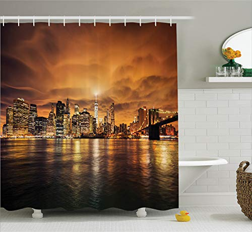 Ambesonne New York Shower Curtain Set, Manhattan at Sunset New York City View from Brooklyn Lights Reflections Seaport Scenery Print, Fabric Bathroom Decor with Hooks, 70 Inches, Orange Black