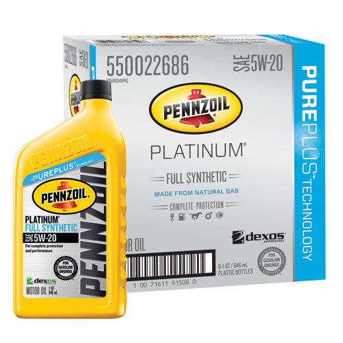 Pennzoil 550022686-6PK Platinum Full Synthetic 5W-20 Motor Oil -1 Quart (Pack of 6)