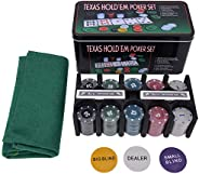 Poker Chip Set for Texas Holdem, Blackjack, 200 Chips Poker Set with Table Cloth Playing Game for Family Frien