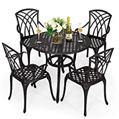 Garden and Outdoor Nuu Garden Outdoor Cast Aluminum Dining Set, Black Round Patio Table and Chairs with Umbrella Hole for Patio or Deck… patio dining sets