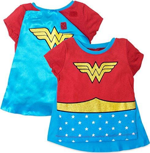 Wonder Woman Toddler Girls' Costume Tee Shirt with Cape Red (4T)