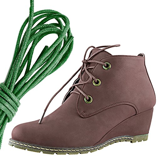 DailyShoes Womens Fashion Lace Up Round Toe Ankle High Oxford Wedge Bootie, Dark Green Brown Pu