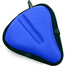 """Bikeroo Large Bike Seat Cushion - 11"""" x 10"""" Wide Gel Soft Pad Most Comfortable Exercise Bicycle Saddle Cover for Women and Men - Fits Cruiser and Stationary Bikes, Indoor Cycling"""